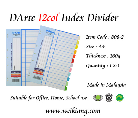DArte 12col Index Divider (Paper)(Thick)