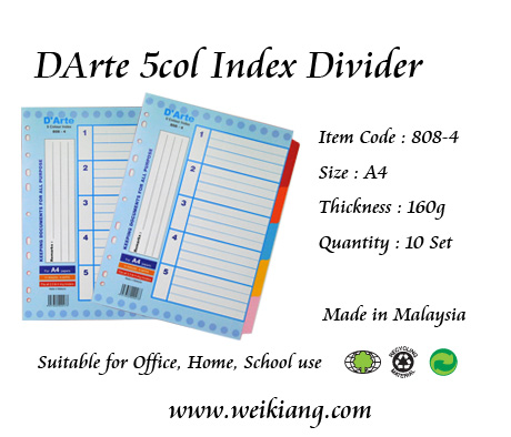 DArte 5col Index Divider (Paper)(Thick)