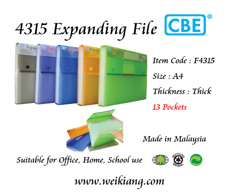 CBE F4315 A4 Expanding File 13 Pockets