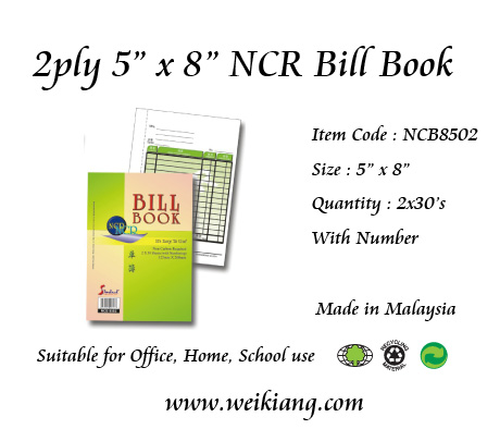 "2ply 5"" x 8"" NCR Bill Book With Number"