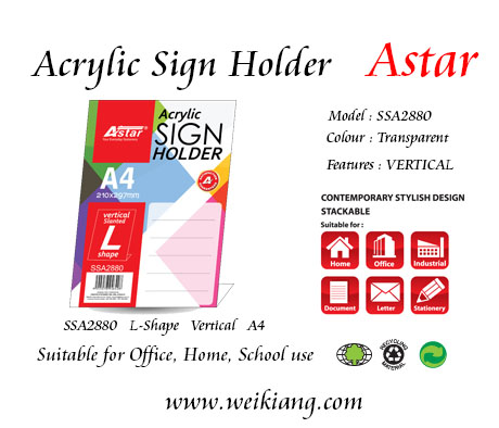 SSA2880 Astar Acrylic A4  Sign Holder