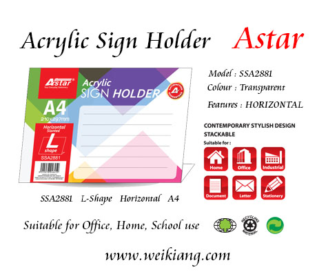 SSA2881 Astar Acrylic A4 Sign Holder