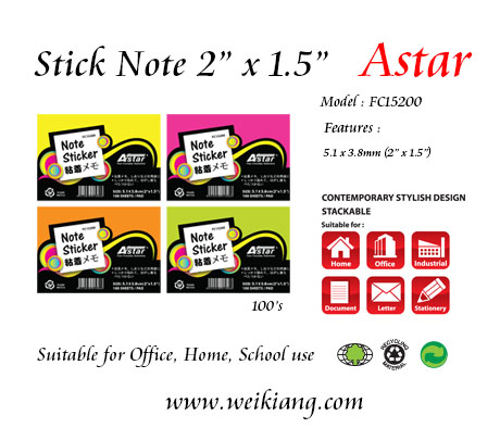"Astar 1.5 x 2"" Fluorescent Colour Note Sticker"