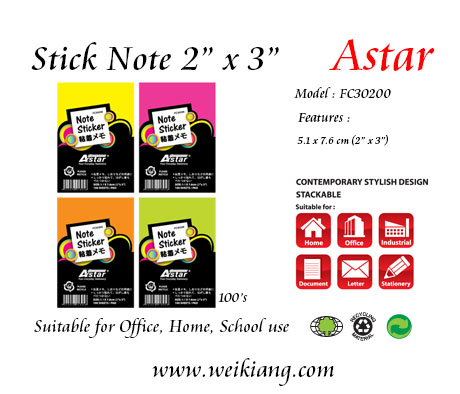 "Astar 2 x 3"" Fluorescent Colour Note Sticker"