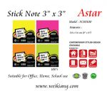 "Astar 3 x 3"" Fluorescent Colour Note Sticker"