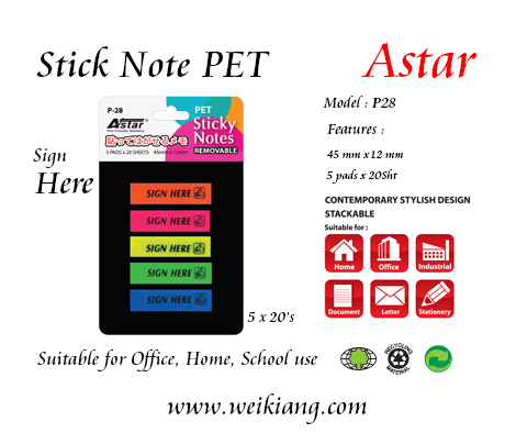 Astar P28 Stick Note PVC-Sign Here