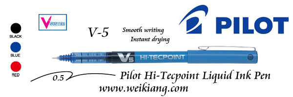 Pilot V-5 HI-TECPoint Liquid Ink Pen ( Black / Blue / Red )